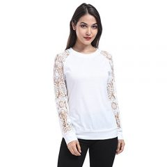 Lace Long Sleeve Round Neck Blouse Top Shirt